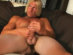 Blonde gay bitch enjoys rubbing his prick in homemade scene