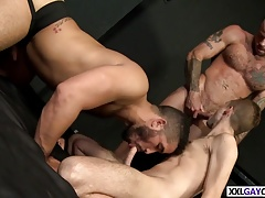 Three hot studs banging in the club
