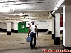 Ripped black mechanic jerking on his break