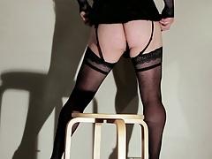 Lola, french crossdresser, dildo, lingerie and cum 2