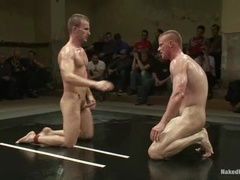 Four horny gays have hot group fight and sex on a ring