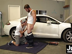 Horny tattooed guy barebacking hard at twinks sexy tight ass