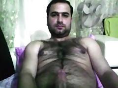 Hairy latin bear wanking