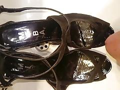 A friend creaming my daugh's black platform sandals with cum