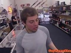 Straight pawnshop amateur facialized for cash