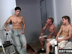 Muscle son gangbang and cumshot