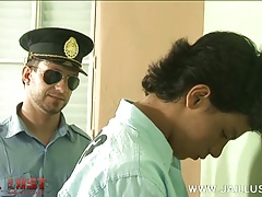 Old gay officer gets access to sweet boyish ass