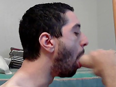 Suck and fuck Bandit dildo while in chastity