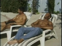 A poofter gets his black ass smashed after giving head on the poolside