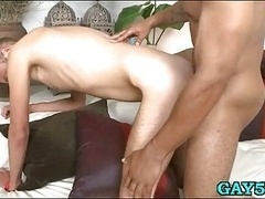 Sexy boy takes black huge penis