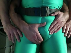 Playng with my slave hes big lycra bulge