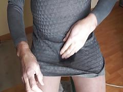 grey dress , pantyhose and whaite pantie piss