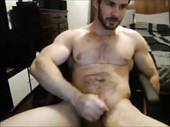Hairy Muscle Hunk  Jerks His Cock Until He Cums
