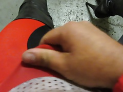 My 7 inch platform thigh boots and cycling gear