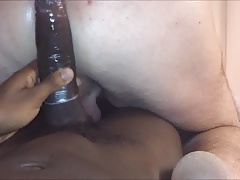 Riding this gay mans big black cock