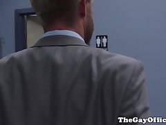 Suited gay assfucked hunky colleagues ass hole