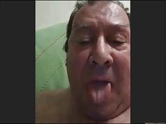 horny spanish grandpa wanking and cumming