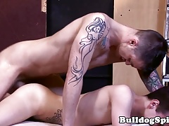 Inked top rough fucking lad in asshole