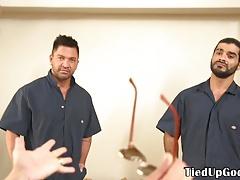Restrained bdsm stud sucking doms cock