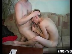 Russian son rimjob with cumshot