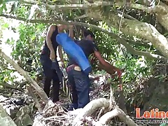 Latino boys strip for wet oral fun in the jungles