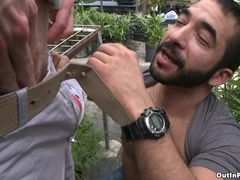 Bearded poofter blows and gets his ass drilled outdoors