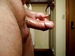 Dick play vaseline side view in hotel