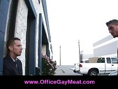 Business meeting with gay couple making out at the office