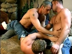 Three sizzling poofters make out and suck each other's cocks