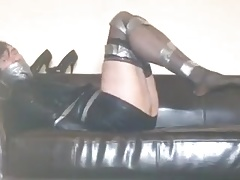 tranvestite bound gagged stockings high heels 1