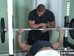 Muscle bodybuilder bound with cumshot