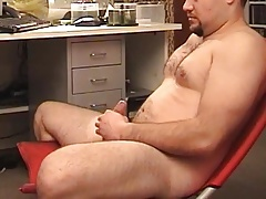 He shoot his load on his hairy body