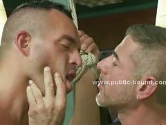 Strong gay sex slave abused in group sex