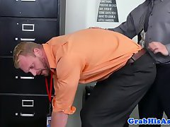 Tall muscular office guy pleases boss cock