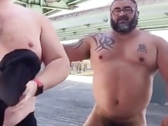 Master and his hubby after their workout in the parking lot.