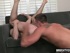 Big dick gay oral sex with creampie