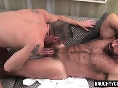 Tattoo gay oral sex with facial cum