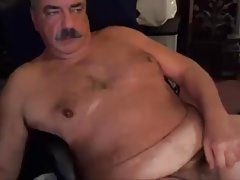 dad with mustache on cam play and cum