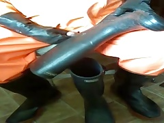 Cock play and wank in my orange oilskins.