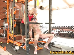 Tied up inked bdsm sub anal toyed by dom