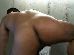 Hot muscular latin guy stroking his small dick