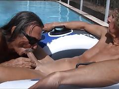 Jamie Blows Jenny Transvestite Cock Slut in the Pool #2