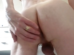Playing with my ass in the bathroom, a short clip