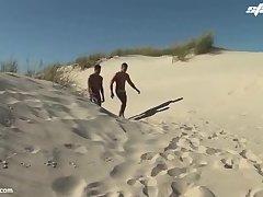 Twinks on a beach