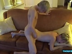 Tattoo twink threesome and facial