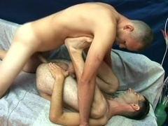 Hairy gay bitch moans loudly while getting his ass drilled