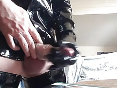 Handjob vinyl glove and cum