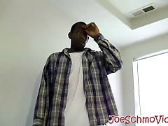 Big daddy Joe first big black cock experience in his mouth