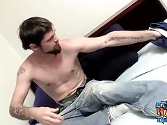 Naughty dude Nolan enjoys wanking his raging schlong