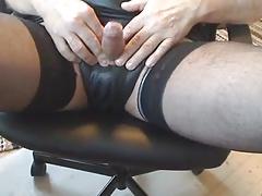 Jerk off Small Cock Rubber Panties Nylon Stockings